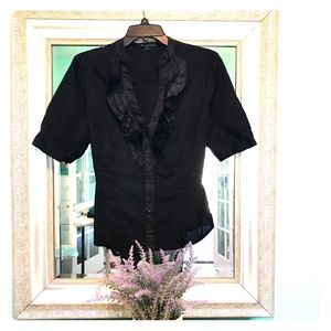 💋Forever 21💋 Black Ruffle Button-Down Shirt sz L